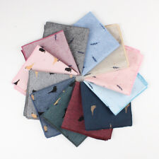 Handkerchief Hankie 100% Cotton Pocket Square Bird Leaf Wedding Polyester Suit