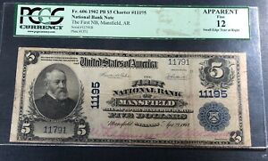 1902 $5 National Bank Note of Mansfield Arkansas  PCGS Fine 12