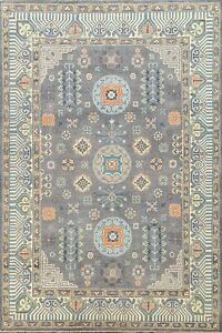 Geometric Super Kazak Oriental Area Rug Vegetable Dye Handmade Gray Carpet 6'x9'