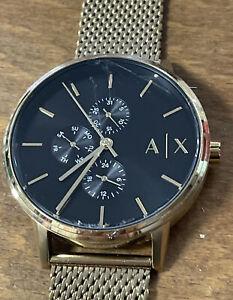 Mens Armani Exchange Designer Watch AX2715 CAYDE Gold Steel Black Dial Genuine