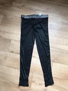 Calvin Klein Leggings M Fits Uk12 💕 Satin Lycra Gym/ Work Out / Running