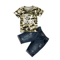 Newborn Toddler Kid Baby Boys Clothes Tops T shirt Denim Pants Jeans Outfits Set
