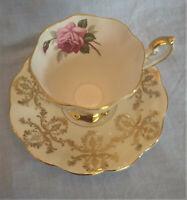 Vintage Royal Standard Teacup & Saucer England Cabbage Rose Cream Gold