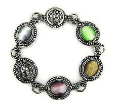 Antique Silver Cabochon Bracelet Cat Eye Filigree Magnetic Fashion
