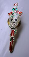 ZP91 Unusual Sword Snake and Skull  - Biker Lapel Pin Badge Brooch Claymore