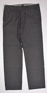 HUGO BOSS CHUCK2 Hombre 100% Algodón Corte Normal Pantalones 36X34 Negro Nuevo