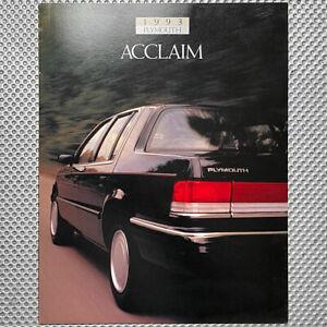 1993 PLYMOUTH ACCLAIM Prospekt/Brochure Chrysler Dodge Spirit 16 Seiten USA!