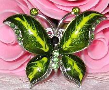 Girls Green Crystal Rhinestone Brooch new