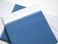 Pottery Barn Classic Blue 400 TC Banded Hemstitch Full Queen Duvet Cover New