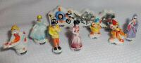 Vintage Set of 10 Disney Porcelain FEVES Mini Figures Cinderella Prince Gus Jaq