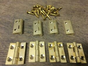 """4 PAIRS 1"""" 25mm SOLID BRASS BUTT HINGES WITH SCREWS SMALL BOX DOOR solid drawn"""