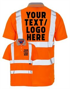 ADD YOUR OWN TEXT/LOGO Personalised Adults Hi Vis Safety Work Orange Polo Shirt