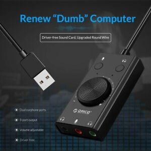 External USB Sound Card Output Volume Adjustable Audio Card Adapter PC
