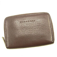 Burberry Wallet Purse Coin Purse Logo Brown Woman unisex Authentic Used Y7024