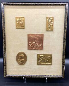 5 Beautiful Table Bronze Relief Plaques Medals Perl Schwartz Neuberger