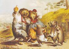 RARE CARL OFFTERDINGER drunken hedgehogs party unposted modern postcard