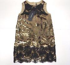 D&G New Girls Kids ANTIQUE GOLD SEQUIN DRESS GOWN w/ LACE Sz: 8 RTL: $905 P612