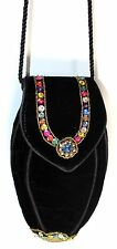 Vintage LANCOME Black Velvet Multi Color beaded Evening Purse