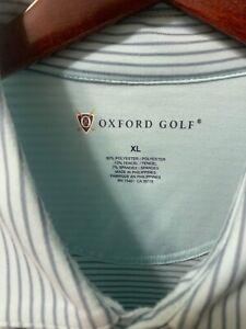Rare OXFORD GOLF Mens Blue Mint Striped Polo Shirt XL Short Sleeves
