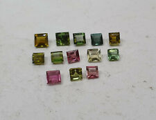 4.20cts 13Pcs Natural Loose Multi Tourmaline Square 3.5-4.5mm Size Nontreated