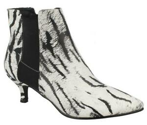 Ladies Spot On Animal Print Pull on Ankle Boots The Style F5R1118