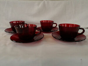 Anchor Hocking Glass *** ROYAL RUBY Red *** Cup &  Saucer *** set/s of (four) 4