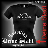 Damen T-Shirt Girlie Shirt mit Wunschtext Stadt oder Namen Wunschdruck GOFU05-01