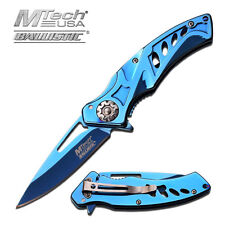 "7.25"" BLUE MTECH SPRING ASSISTED FOLDING KNIFE Blade pocket open switch"