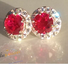 6 Claws 100% Real 925 Silver Created Ruby Removable Jacket Halo Stud Earrings