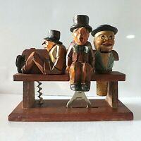 Vintage ANRI Wood Carved Bar Set with Drunks Hobos Tramps on Park Bench