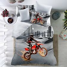 3 pcs/set Queen Size Bedding Quilt Duvet Cover Pillowcase Motorcycle Rider Sport