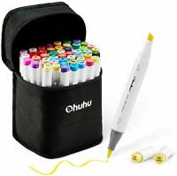 Ohuhu 48 Pieces Colorful Art Markers Twin Tip Brush & Chisel Set for Kids Artist