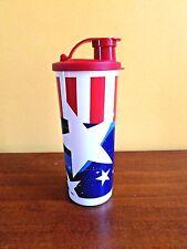 Tupperware Tumbler w/Flip Top Seal Patriotic-Stars & Stripes BPA FREE 16 0z.