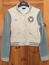 Ladies Girls Grey Beige Cropped Baseball Jacket Varsity Size 12 Topshop