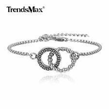Stainless Steel Box Link Chain Bracelet Intertwined Circle Bangle Anklet Jewelry