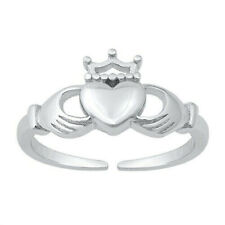 925 Oxidized Finish Height 12 mm Claddagh Design Toe Ring Solid Sterling Silver