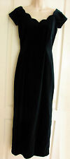VTG Style Velvet Bardot Neckline Dress Full Length Deep Green S10 by Monsoon New
