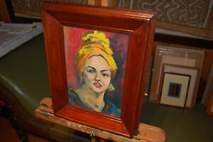 """Original framed oil painting on canvas board """"The Commissioner's Wife""""."""