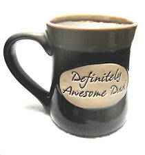 Definitely Awesome Dad Brown Tan Coffee Cup Mug DECORATION ONLY HAIRLINE CRACK