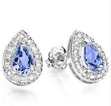 TANZANITE & DIAMOND EARRINGS SILVER 0.64 CWT  EYE CLEAN WHITE GOLD LOOK
