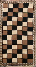 Checked Design Modern Natural Color Gabbeh Persian Hand-Knotted 4'x7' Wool Rug