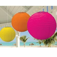 Round Hanging paper Lanterns Hot Pink, Orange and Yellow. 1x3 pack. NEW