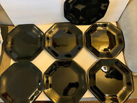 "Arcoroc France OCTIME Black Glass Octagon Set Of 7 Dinner Plates 10.8"" France"