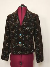 Live A Little 2 Button Blazer Jacket Women's PL Brown Stretch Micro Corduroy