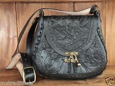 Mexican Tooled Leather ShoulderBag~Bohemian~VintageStyle~Bolsa de Piel Cincelada