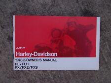 1978 1/2 Harley Davidson FL FLH FX FXE FXS Motorcycle Owner Manual SEE STORE! V