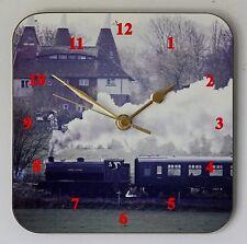 Reloj Pared Cuadrado k&es tren de vapor para los entusiastas de los transportes Talla 19 Cm por 19 Cm