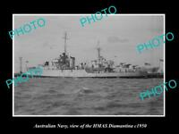 OLD LARGE HISTORIC PHOTO OF AUSTRALIAN NAVY SHIP HMAS DIAMANTINA c1950