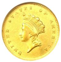 1855 Type 2 Indian Gold Dollar (G$1 Coin) - Certified ANACS AU53 Details - Rare!