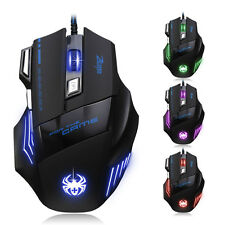 7 botón LED óptico USB con cable Mose 5500 DPI Gaming Mouse Pro Gamer MOUSE MICE